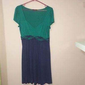 Green and blue short sleeve summer dress